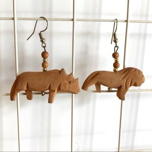Vintage African Hand Carved Wooden Earrings